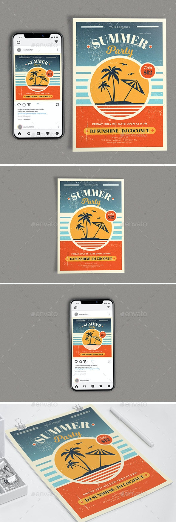 Retro Summer Party Template Set - Clubs & Parties Events