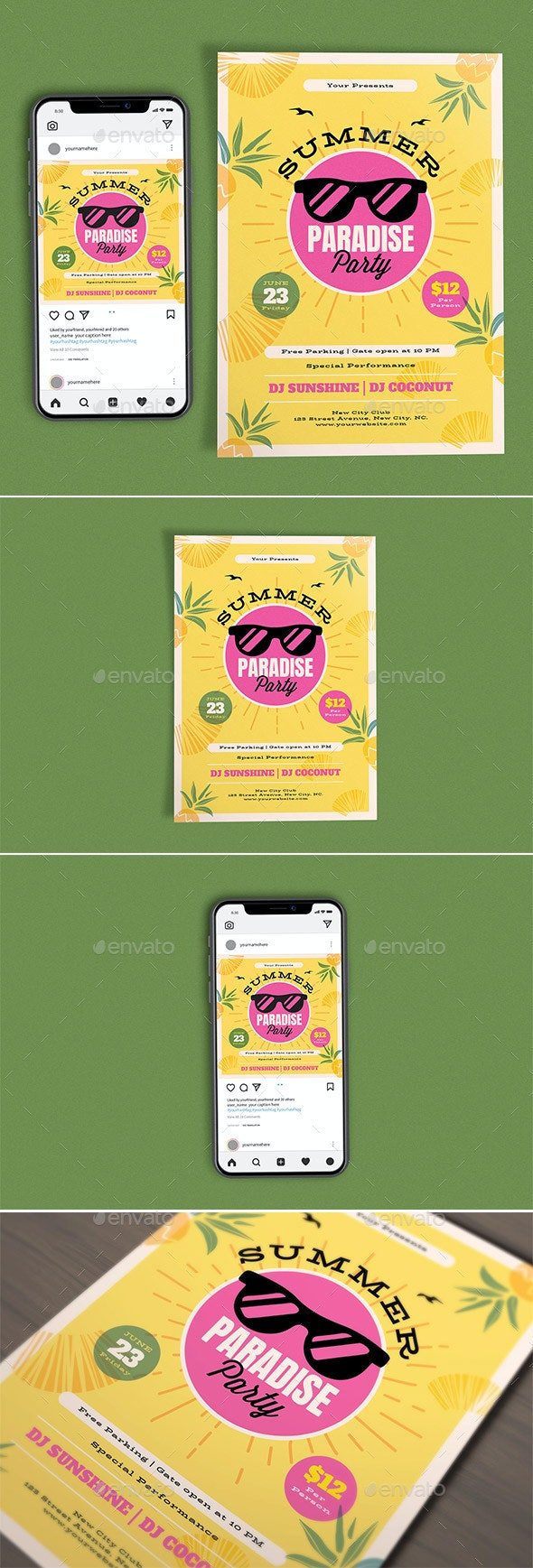 Summer Paradise Template Set - Clubs & Parties Events
