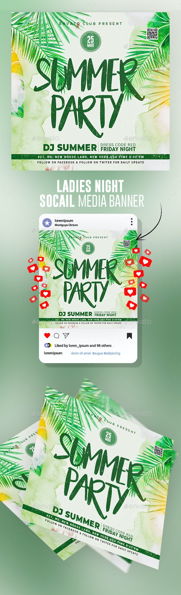 Summer Beach Party Flyer Template - Banners & Ads Web Elements