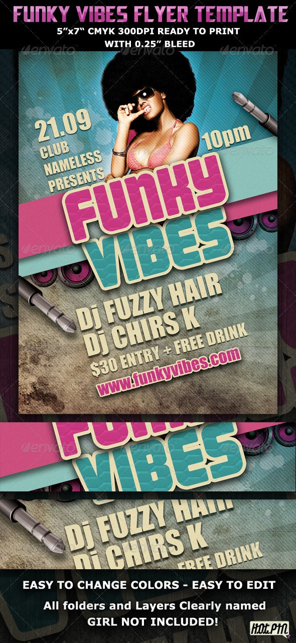 Funky Vibes Party Club Flyer Template - Clubs & Parties Events