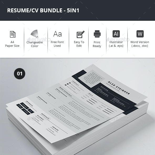Resume/CV Bundle - 5in1