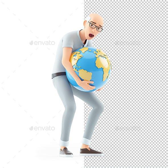 3D Senior Man Lifting Heavy Earth