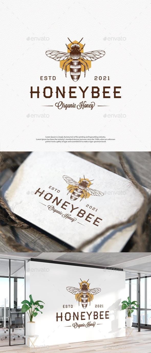 Honey Bee Vintage Vector Logo Template - Animals Logo Templates