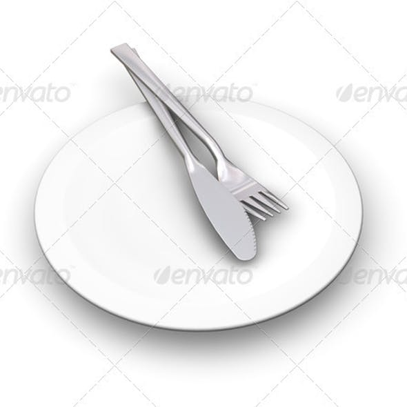 Plate with cutlery