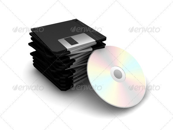 Floppy disks and CD - Technology 3D Renders