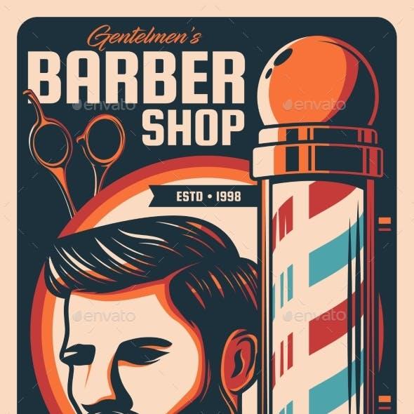 Barbershop and Hairdresser Salon Retro Poster