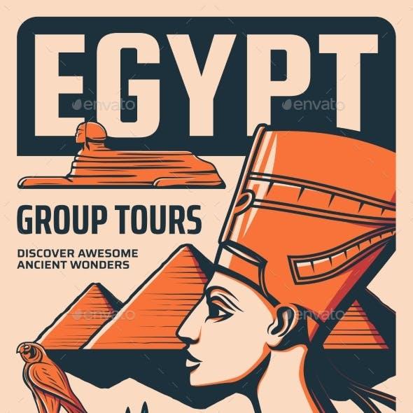 Egypt Group Tours Retro Poster Egyptian Culture