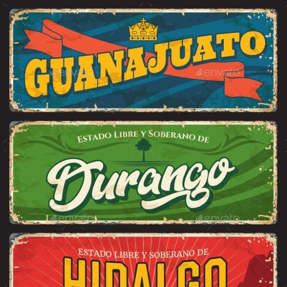 Guanajuato Hidalgo and Durango Mexico State Plate
