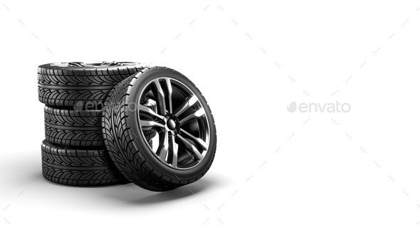 Five Car Wheels on a White Background - Objects 3D Renders