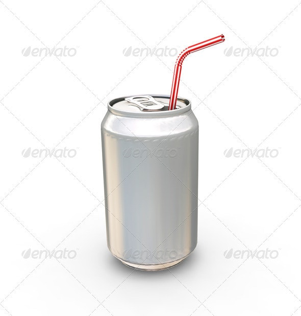 Drinks can and straw - Objects 3D Renders