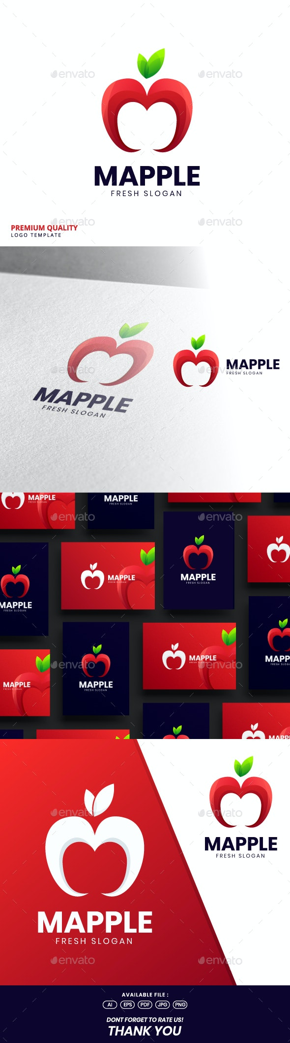 Apple M Logo Template - Food Logo Templates