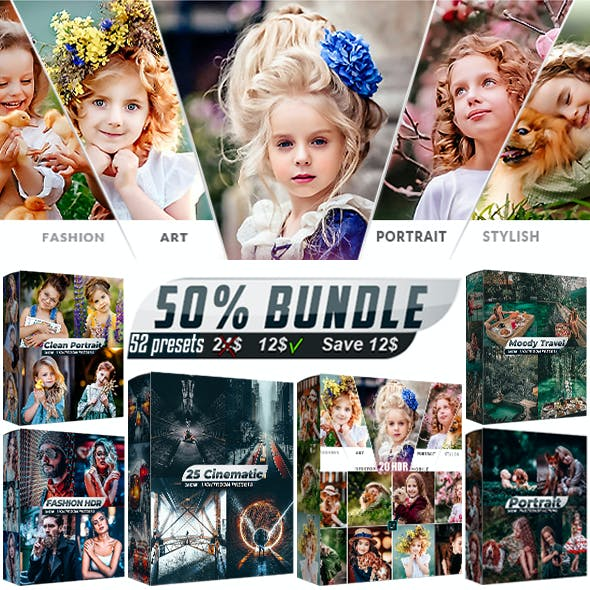 52 Presets Bundle Artistic Collection Lightroom