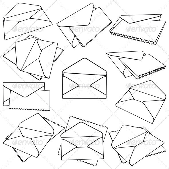 Set of Open Envelopes - Miscellaneous Vectors