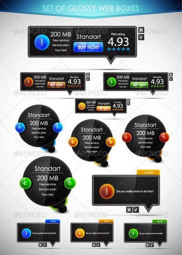 Black Glossy Web Boxes - Web Technology
