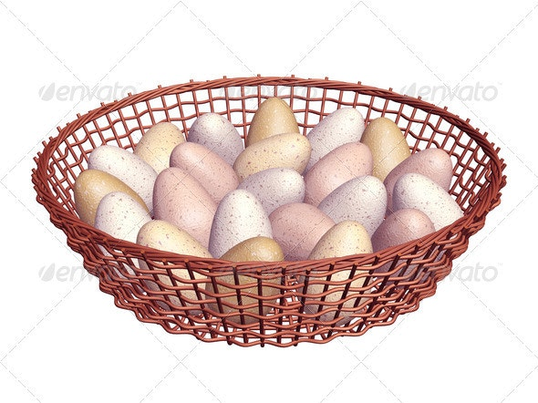 Eggs in basket - Objects 3D Renders
