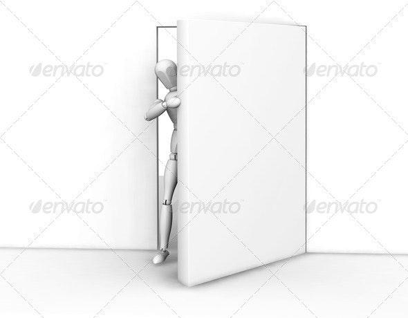 Person peeking round a door - Characters 3D Renders