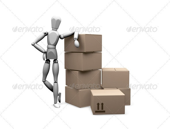 Man leaning on boxes - Characters 3D Renders