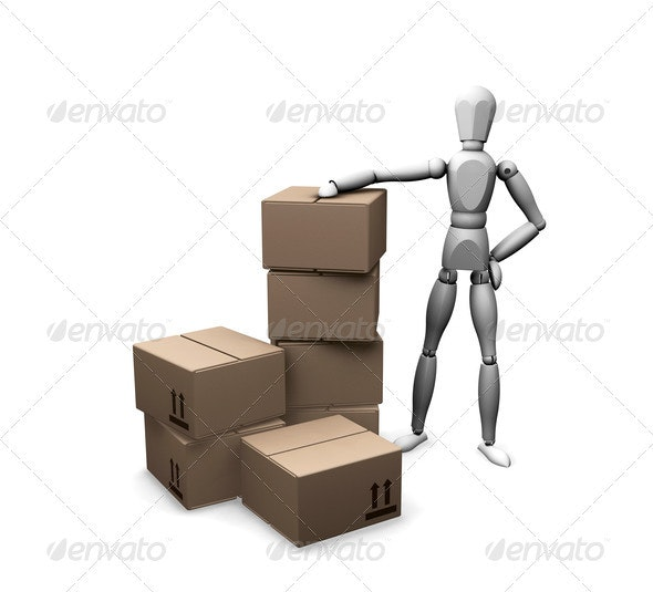 Man with boxes - Characters 3D Renders