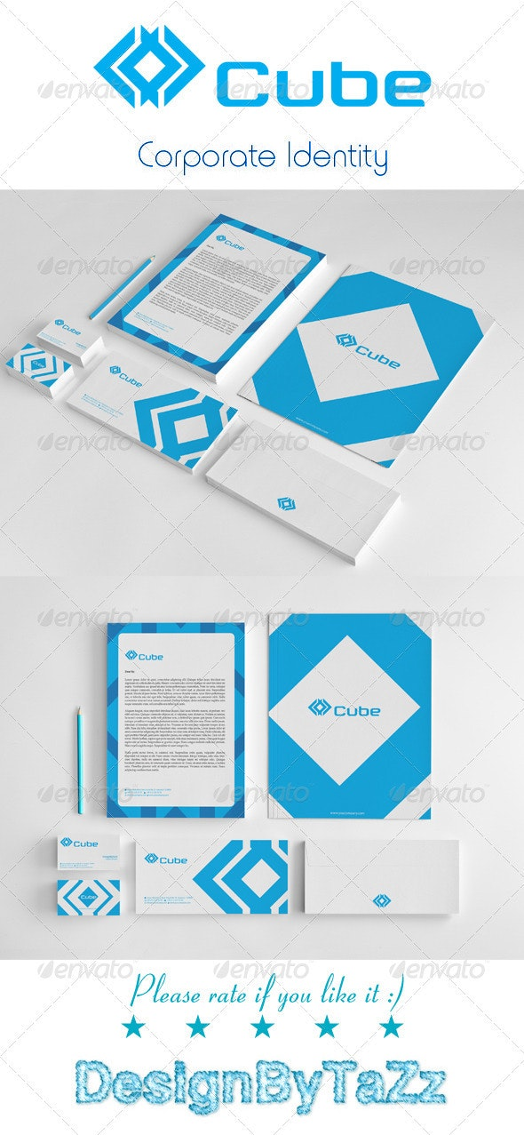 Cube Corporate Identity Package - Stationery Print Templates