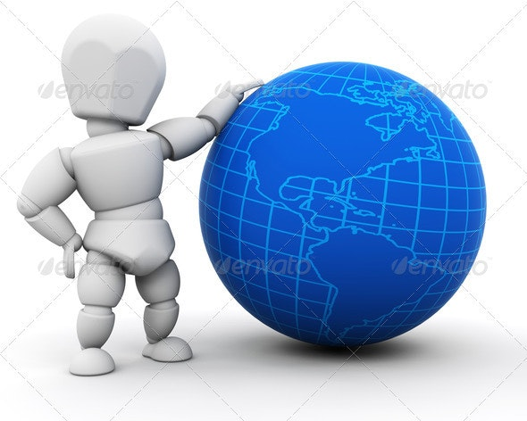 Person with globe - Characters 3D Renders