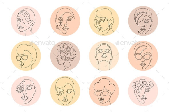 Highlight Covers with Women Faces - Miscellaneous Vectors