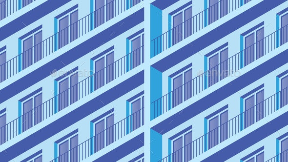 Isometric Building Facade Illustration - Buildings Objects