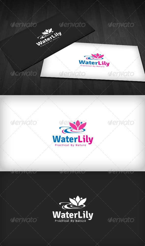 Water Lily Logo - Nature Logo Templates