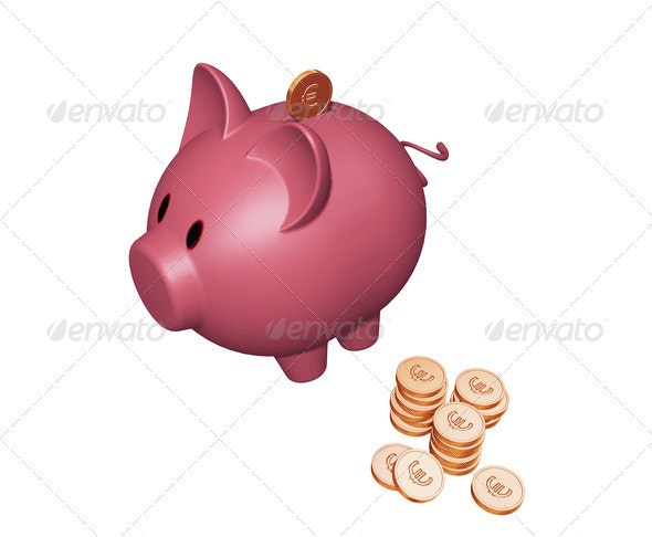 Piggy bank with Euros - Objects 3D Renders