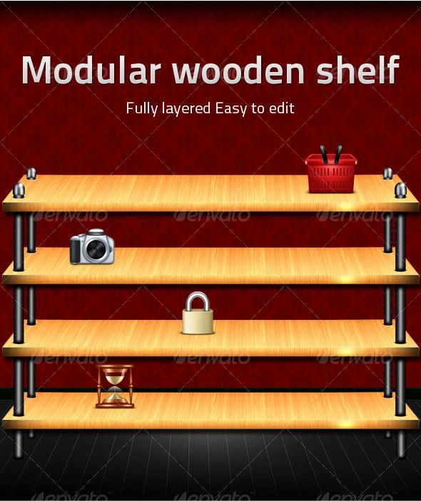 Modular wooden shelf - Miscellaneous Backgrounds