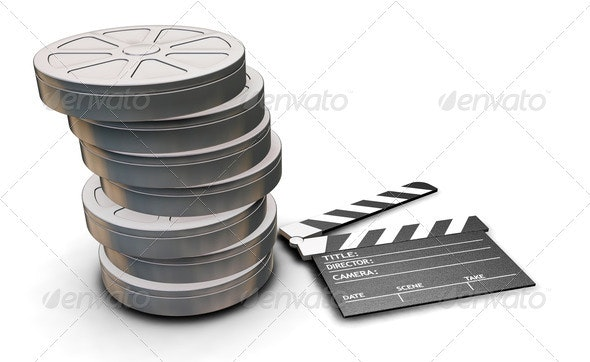 Film reels and clapper board - Objects 3D Renders