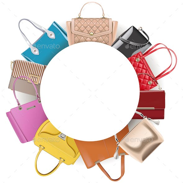 Vector Round Blank Frame with Handbags