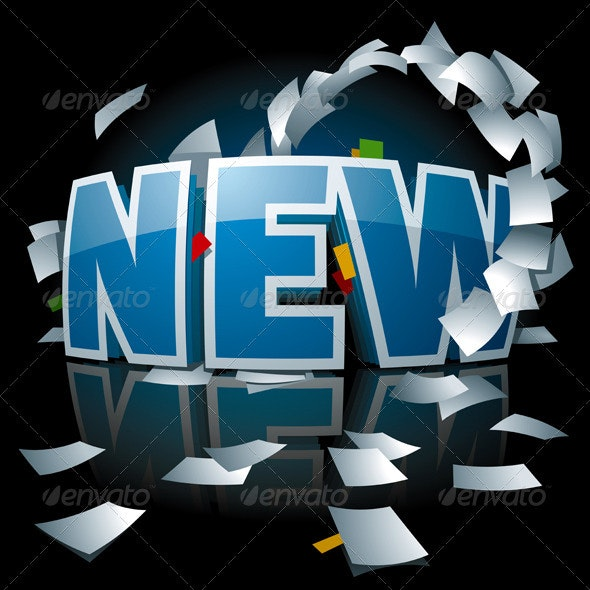 """""""New"""" Logo with Paper Whirlwind Around it - Concepts Business"""