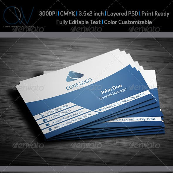 Horizontal Blue Business Card