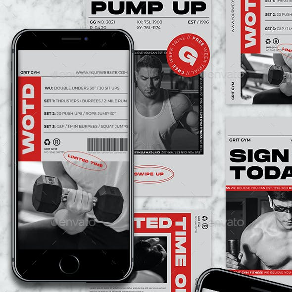 Grit - Gym and Fitness Instagram Templates