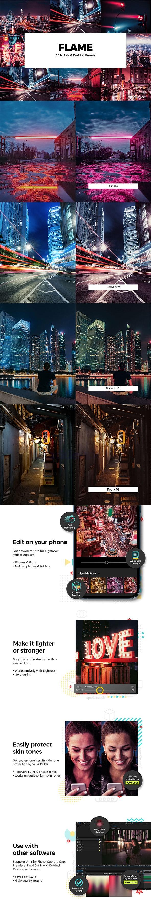 20 Flame Lightroom Presets & LUTs - Lightroom Presets Add-ons