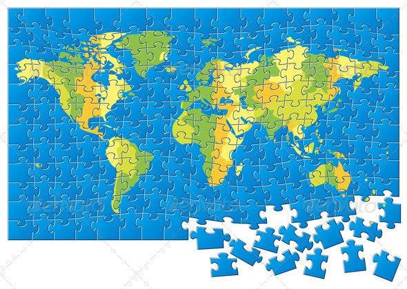 World Map Puzzle  - Miscellaneous Vectors