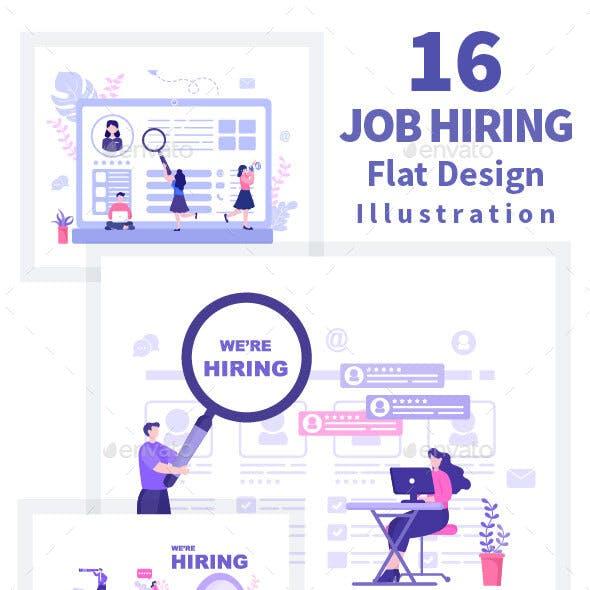 16 Job Hiring And Online Recruitment Illustration