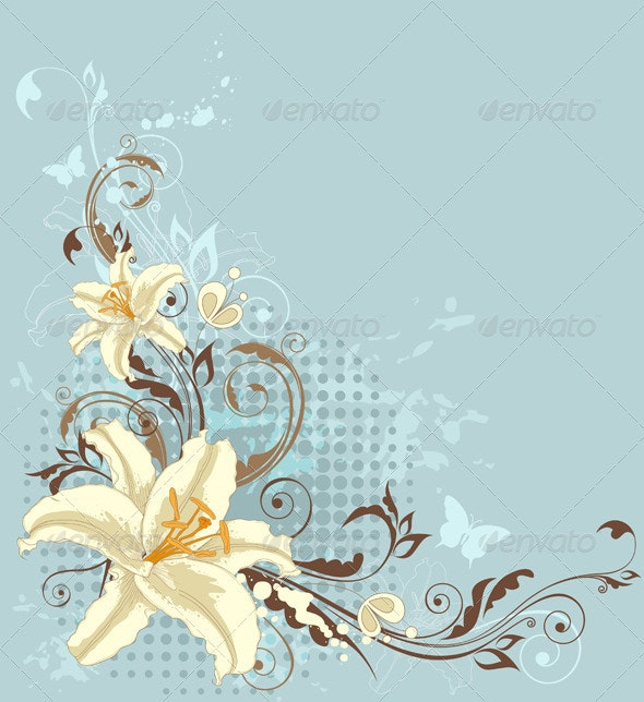 Blue Floral Background with Lily - Backgrounds Decorative