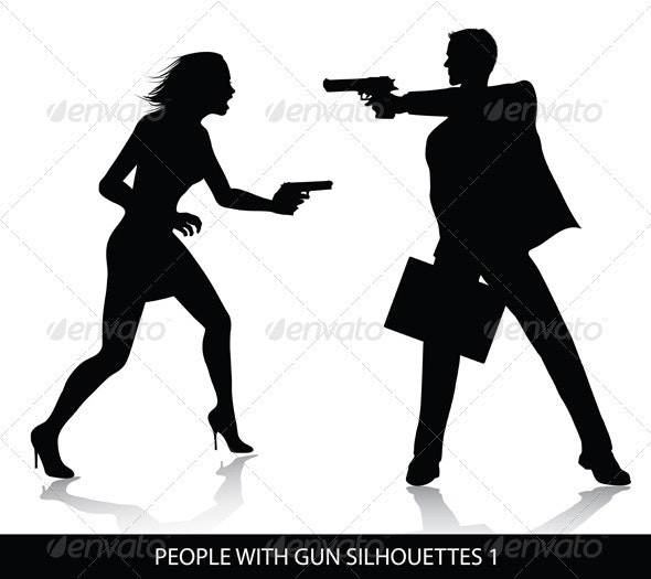 People with gun silhouettes  - People Characters