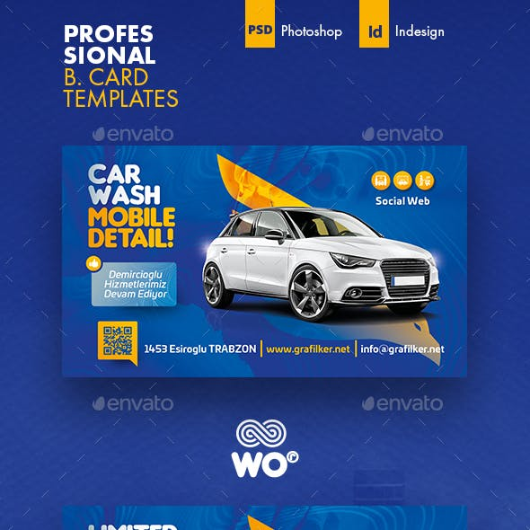Car Wash Business Card Templates