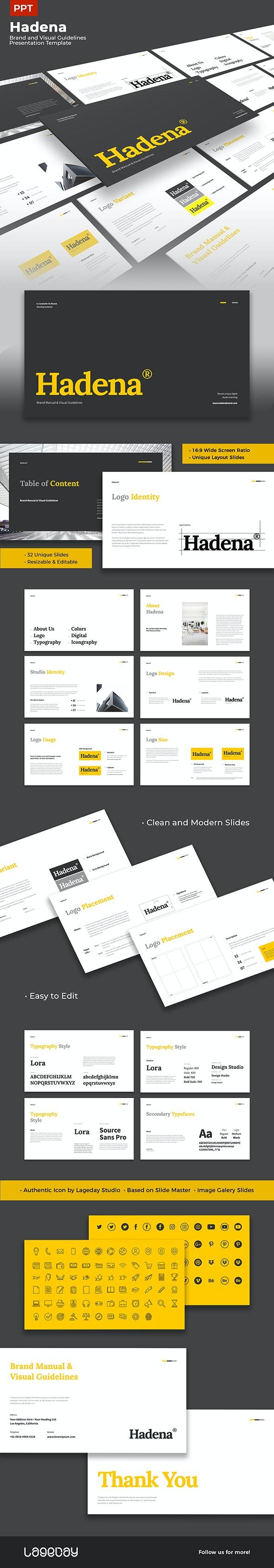 Hadena - Brand Manual & Visual Guidelines Presentation PPT Template - PowerPoint Templates Presentation Templates