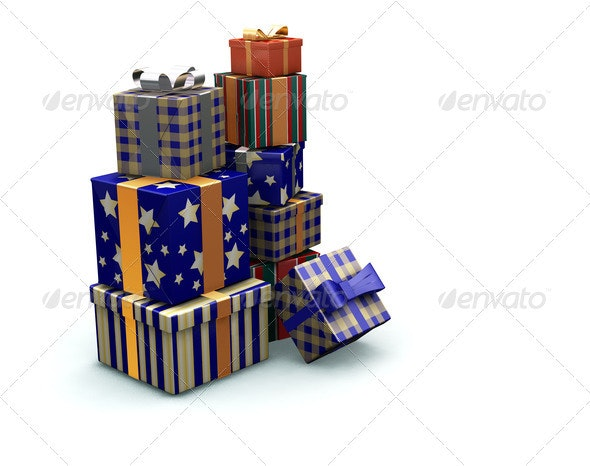 Stack of gifts - Objects 3D Renders