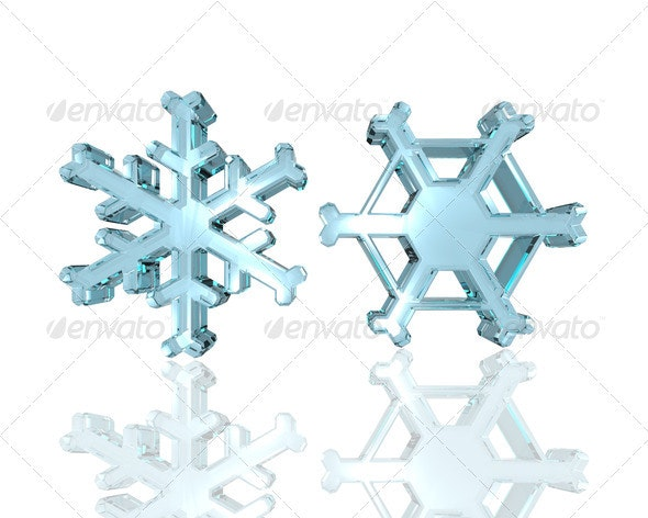 Glass snowflakes - Abstract 3D Renders