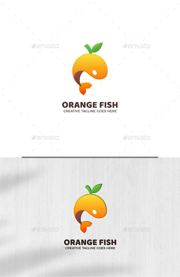 Orange Fish Gradient Logo Template - Animals Logo Templates