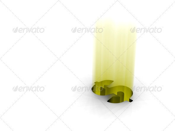 Glowing dollar - Abstract 3D Renders