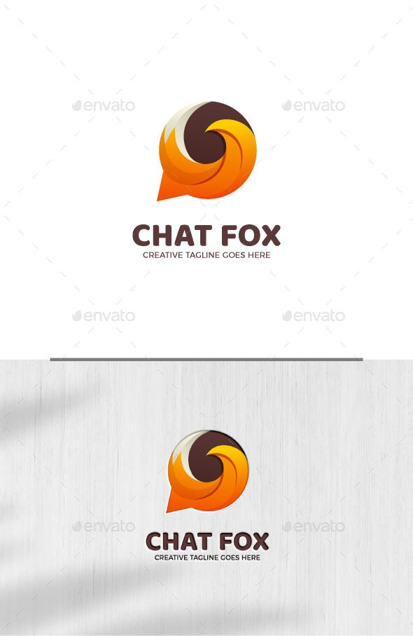 Bubble Chat Fox Gradient Logo Template - Objects Logo Templates