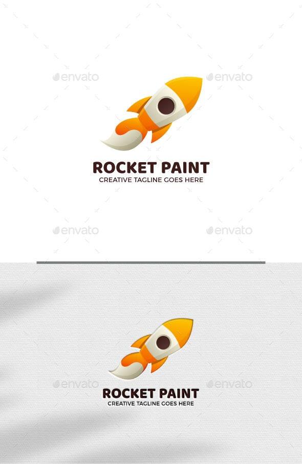 Brush Paint Rocket Logo Template - Objects Logo Templates