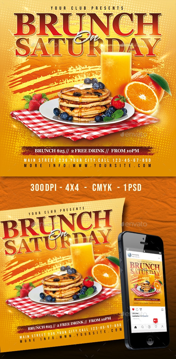 Brunch On Saturday Flyer - Clubs & Parties Events