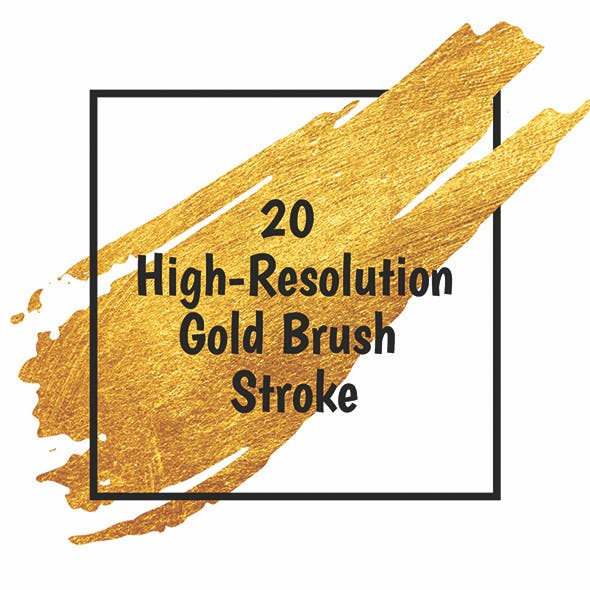 20 High Resolution Gold Brush Strokes Photoshop Brushes