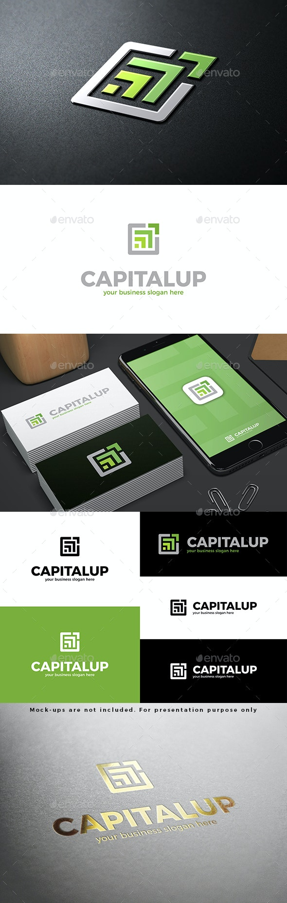 Capital Up Logo Abstract Green Arrows - Abstract Logo Templates
